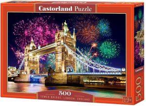Puzzle del Puente de Londres de noche de 500 piezas de Castorland - Los mejores puzzles de Tower Bridge - Puzzles del Puente de Londres