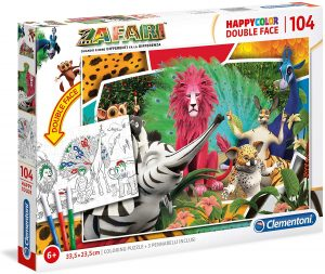 Puzzle de Zafari para colorear de 104 piezas de Clementoni - Los mejores puzzles de Zafari