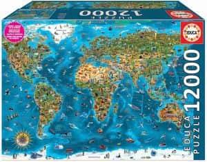 Puzzle de símbolos del mundo de 12000 piezas de Educa en mapamundi