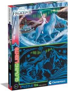 Puzzle de Elsa y Nokk de Frozen de Glowing Lights de 104 piezas - Los mejores puzzles de Glowing Lights de Clementoni
