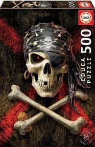 Puzzle de calavera pirata de 500 piezas - Los mejores puzzles de Halloween